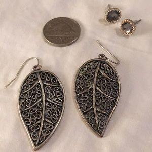 """Silver """"leaf"""" earrings"""